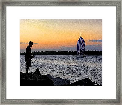 Solitary Fisherman Framed Print by Grace Dillon