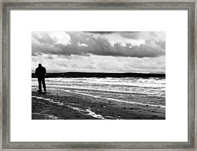 Solitary Man On A Lonely Beach Framed Print by Georgia Fowler