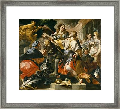 Solomon Worshiping The Pagan Gods Framed Print by Domenico Antonio Vaccaro
