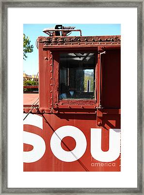 Southern Pacific Caboose - 5d19235 Framed Print by Wingsdomain Art and Photography