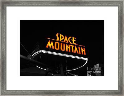 Space Mountain Sign Magic Kingdom Walt Disney World Prints Color Splash Black And White  Framed Print by Shawn O'Brien