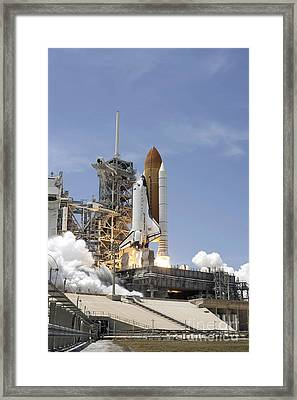Space Shuttle Atlantis Twin Solid Framed Print by Stocktrek Images