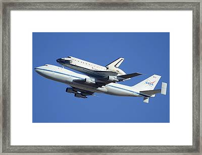 Space Shuttle Endeavour Departing Edwards Afb September 21 2012 Framed Print by Brian Lockett