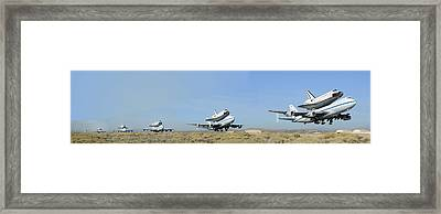 Space Shuttle Endeavour Departs Edwards Afb September 21 2012 Multiple Exposure Framed Print by Brian Lockett