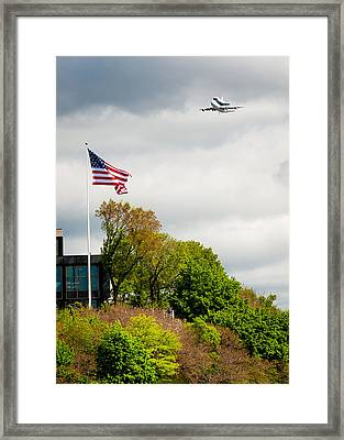 Space Shuttle Enterprise With Us Flag Framed Print by Anthony S Torres