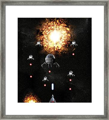 Space War Framed Print by Christian Darkin
