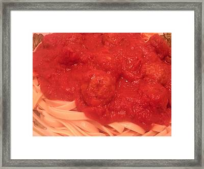 Spaghetti And Meatballs Framed Print by Michael Merry