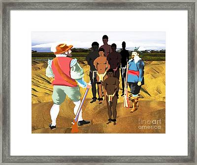 Spaniards Capturing Slaves Framed Print by Belinda Threeths