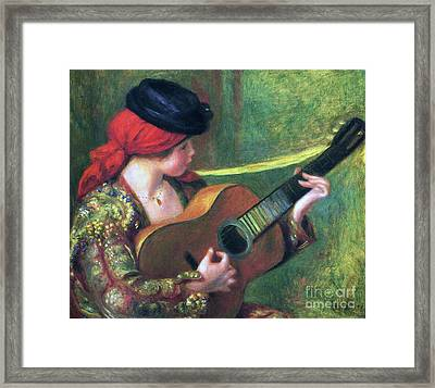 Spanish Girl With Guitar Framed Print by Pg Reproductions