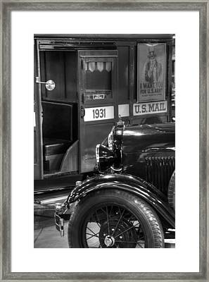 Special Delivery Trucks Black And White Framed Print by Ken Smith