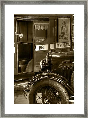 Special Delivery Trucks Sepia Framed Print by Ken Smith
