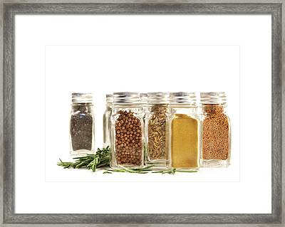 Spice Jars With Fresh Rosmary Leaves Against White Framed Print by Sandra Cunningham