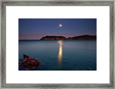 Spinalonga Full Moon Framed Print by Christos Tsoumplekas