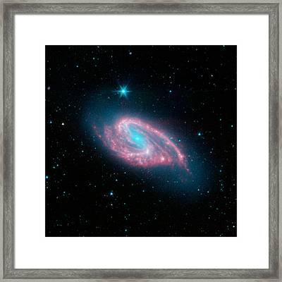 Spiral Galaxy M66, Infrared Image Framed Print by Jpl-caltechr. Kennicutt (university Of Arizona)sings Team Nasa