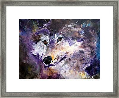 Spirit Wolf Framed Print by Sherry Shipley