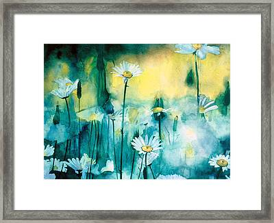 Splash Of Daisies Framed Print by Cyndi Brewer