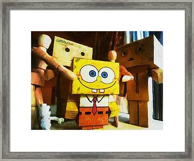 Spongebob Always Loves The Group Hugs Framed Print by Steve Taylor