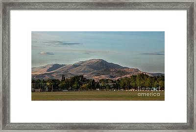 Sport Complex And The Butte Framed Print by Robert Bales