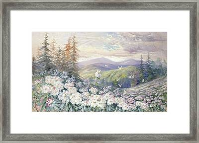 Spring Landscape Framed Print by Marian Ellis Rowan