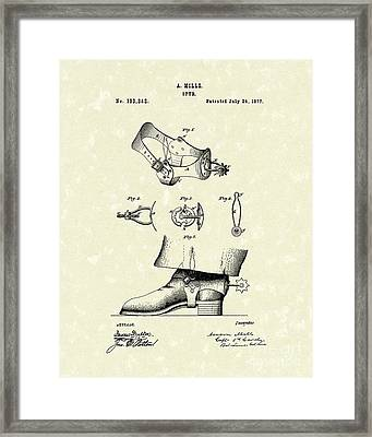 Spur 1877 Patent Art Framed Print by Prior Art Design