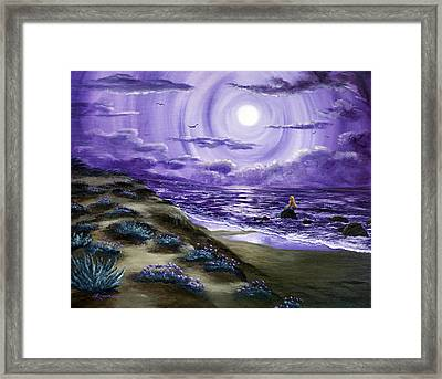 Spying A Mermaid From Flowering Sand Dunes Framed Print by Laura Iverson