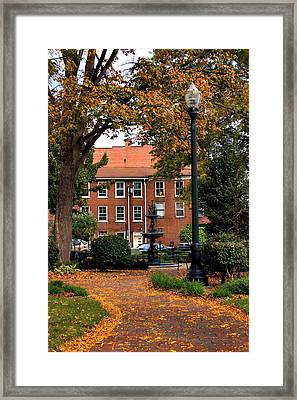 Square In Lisbon Ohio Framed Print by Michelle Joseph-Long
