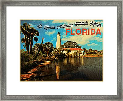 St. Marks Lighthouse Florida Framed Print by Flo Karp