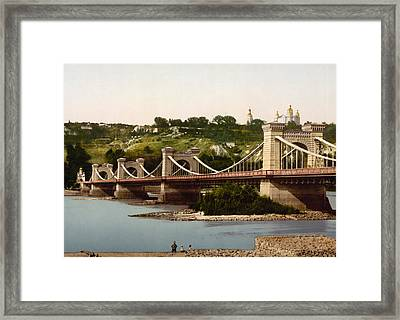 St Nicholas Bridge In Kiev - Ukraine - Ca 1900 Framed Print by International  Images