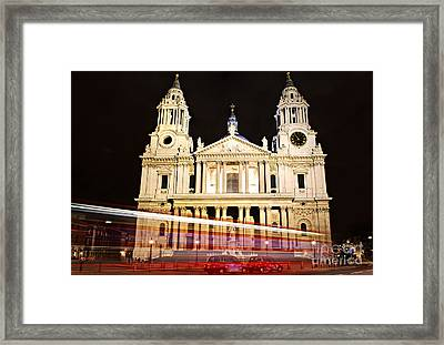 St. Paul's Cathedral In London At Night Framed Print by Elena Elisseeva