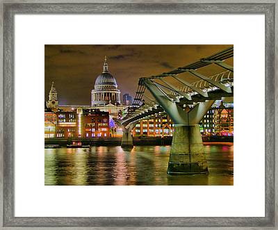 St Pauls Catherderal And Millennium Footbridge - Night - Hdr Framed Print by Colin J Williams Photography