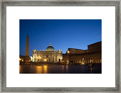 St. Peter's Basilica At Night Framed Print by David Smith