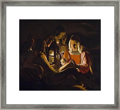 St. Sebastian Tended By Irene Framed Print by Georges de la Tour