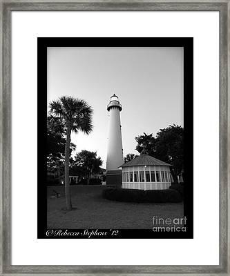 St. Simon's Lighthouse Noir Framed Print by Rebecca Stephens