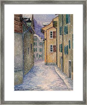 St Ursanne In Snow Framed Print by Scott Nelson