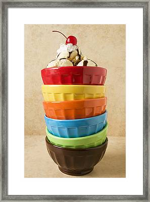 Stack Of Colored Bowls With Ice Cream On Top Framed Print by Garry Gay