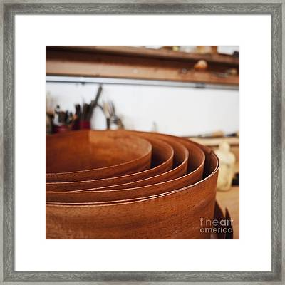 Stack Of Wooden Bowls Framed Print by Jetta Productions, Inc