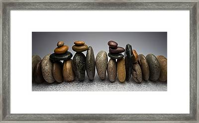 Stacked River Stones Framed Print by Steve Gadomski