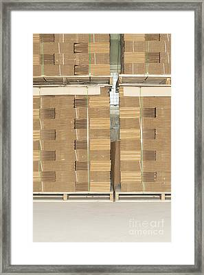 Stacks Of Corrugated Boxes Framed Print by Shannon Fagan