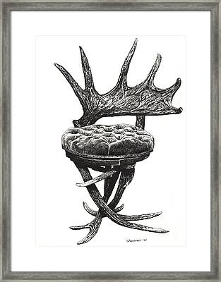 Stag Antlers Chair Framed Print by Adendorff Design