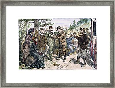 Stagecoach Robbery, 1880s Framed Print by Granger