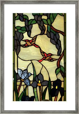 Stained Glass Humming Bird Vertical Window Framed Print by Thomas Woolworth