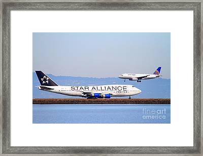 Star Alliance Airlines And United Airlines Jet Airplanes At San Francisco International Airport Sfo  Framed Print by Wingsdomain Art and Photography