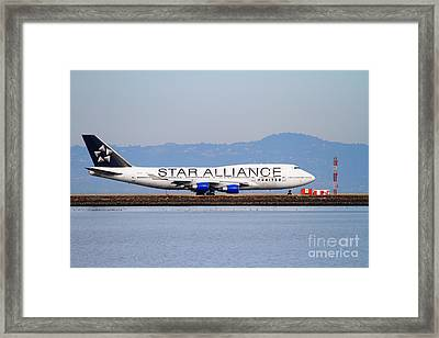 Star Alliance Airlines Jet Airplane At San Francisco International Airport Sfo . 7d12199 Framed Print by Wingsdomain Art and Photography