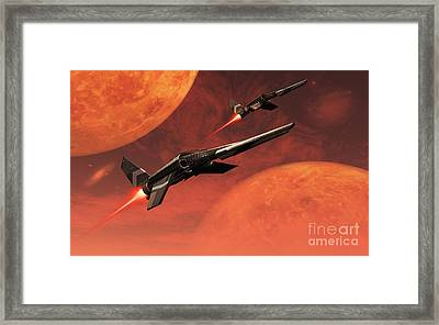 Star Fighters On A Routine Space Patrol Framed Print by Mark Stevenson