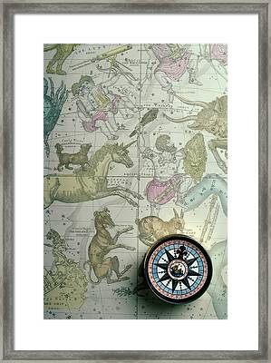 Star Map And Compass Framed Print by Garry Gay