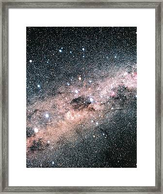 Starfield Centred On The Constellation Of Crux Framed Print by Luke Dodd