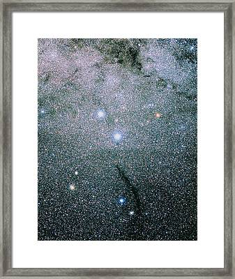 Starfield In The Constellation Of Musca Framed Print by Luke Dodd
