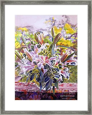 Stargazer Lilies In Glass Bowl Framed Print by David Lloyd Glover