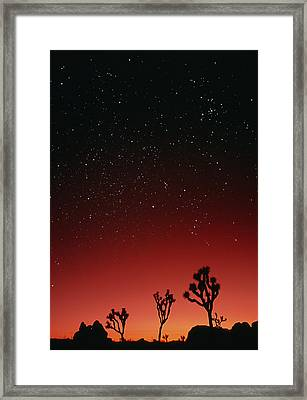 Starry Sky And Sunset Taken In Joshua Tree Park Framed Print by David Nunuk