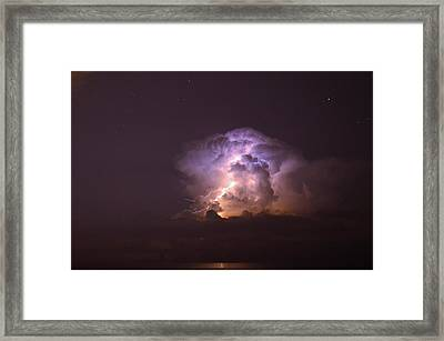 Stars And Lightning Framed Print by David Morefield